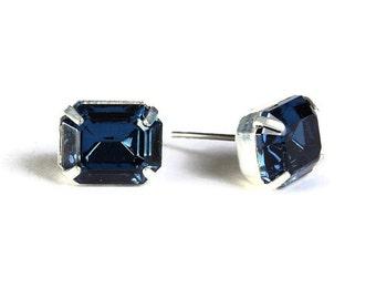 Sale Clearance 20% OFF - Estate style montana blue rhinestone crystal stud earrings (531)