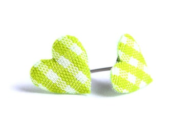 Lime green plaid padded heart fabric hypoallergenic stud earrings READY to ship (454) - Flat rate shipping