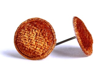 Amber brown velvet padded round dot applique hypoallergenic stud earrings READY to Ship (336) - Flat rate shipping