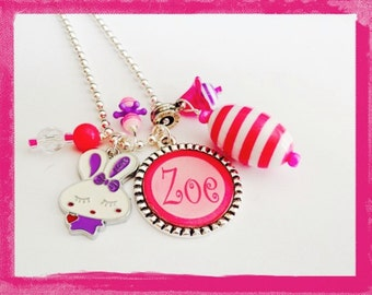 Personalized Easter Necklace  -  Hand Stamped ZOE BUNNY RABBIT Pendant Charm Necklace for Children -  What's in her Easter Basket?