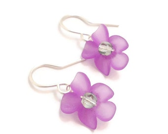 Violet Purple Lucite Orchid Earrings - Custom Colors