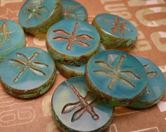 Blue Opal Glass Dragonfly Bead 17mm - 2pc