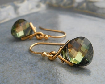 Green and Brown Crystal Earrings, Tabac Swarovski Crystal Flat Briolettes on Gold Pewter Bails.