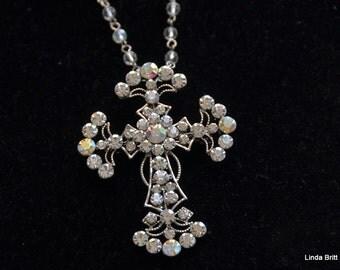 Rhinestone Silver Cross on crystal chain