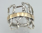 Jewela Fabulous Sterling Silver 9K Yellow Gold Ring size 9 (s r1646