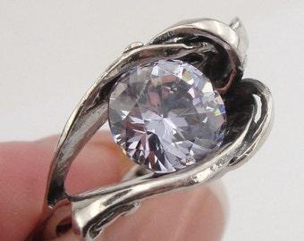 Ladies,ISRAELI Women 925 Sterling Silver filigree Lavender CZ Ring size 8. Gift! (r 10272)