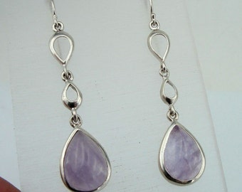 Free shipping, 925 Sterling Silver long Amethyst Earrings, Super Sale - Ready to ship