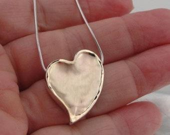 New  Israel Fabulous Art 9k yellow Gold 925 sterling Silver Large Heart Pendant (I n253