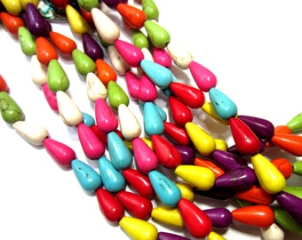 24 Turquoise beads multi-color tear drop howlite beads 13mm x 7mm  G140-07