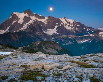 Wilderness Photo, Cascade Range Mt Shuksan Mountain Photography Sunset Sunrise Full Moon Pacific Northwest nat105