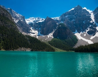 Lake Louise Photo, Banff Photography Reflections Mountains Landscape Canada Jasper Alberta Rockies Blue nat111