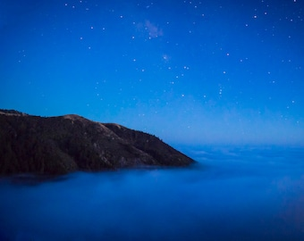Big Sur Photography Ocean Photography California Coast Photo Stars Night Blue Clouds Seascape Wall Art nat127