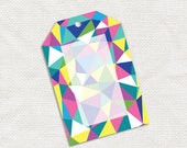 geometric gift tags - printable file - multicolored multicoloured