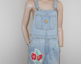 Upcycled Denim Overall Shorts - Size M