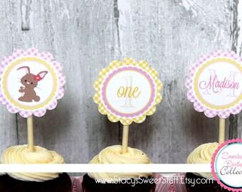 Bunny Birthday Cupcake Toppers, DIY, Printable