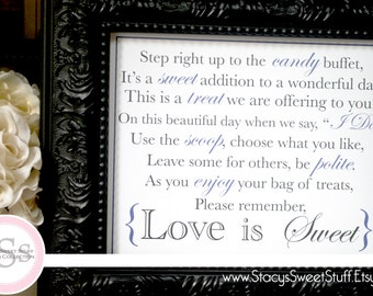 Wedding Candy Buffet Sign, Custom, DIY, Printable