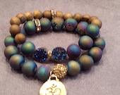 Druzy beaded stretch charm bracelet