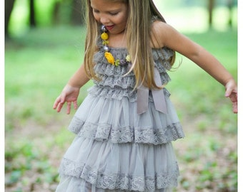 Gray Chiffon Girls Dress- Flower Girl Dresses- Cream dress- Lace dress- Rustic Girls Dress- Baby Lace Dress- Junior Bridesmaid