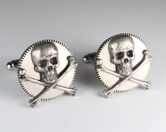 Steampunk Cufflinks Gothic Skull and Gear Cuff Links by Steampunk Vintage Design