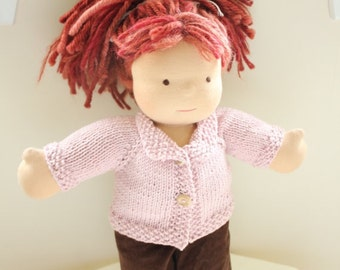 KNITTING PATTERN for Doll Sweater with collar - for 15 - 16 inch Dolls - Instant download - Permission to Sell Finished Product