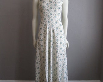 70s cotton Calico print MAXI DRESS with halter top size XS