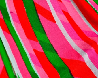 Vintage Fabric - Mod Neon Stripe in Pink and Green - 47 x 40