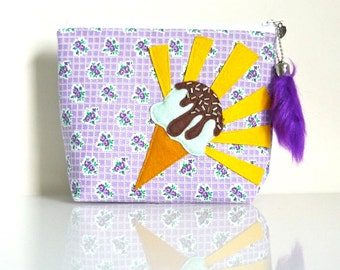Hooray For Ice Cream Cones - PURPLE Zippered Pouch - Sprinkles & Sweets Summer Treats - OOAK - Mint Pistachio - Chocolate Syrup