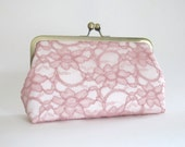 SALE Bridal Silk And Lace Clutch, Pink/IvoryClutch, Lace Clutch, Bridal Clutch, Bridesmaid Clutches