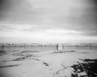Winter landscape photo, snow beach photo, nature photography, Vintage style photo, photography print, black and white, holga, landscape, ice