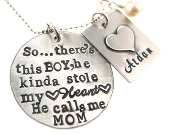 So..There's This Boy Who Stole My Heart, He calls me MOM - Personalized Mother & Son Necklace