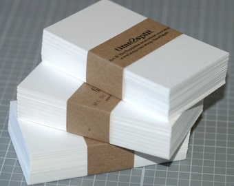 Business Card Blanks (50) ... Bright White 110 lb Square or Rounded Corners Thick Cardstock Seller Supplies DIY Business Card Biz Card