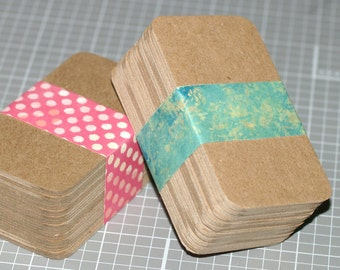 """50 Chipboard Business Card Blanks ... Heavyweight DIY Biz Cards Rounded Corners Kraft Recycled Seller Supplies 2"""" x 3.5"""" Thick Cards"""