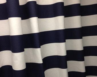 "Two designer curtain panels, drapes, rod pocket horizontal 3"" stripe, navy blue and white cotton"