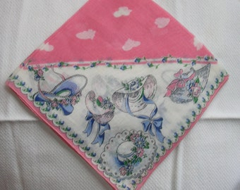 Vintage Novelty Hankie Hanky Handkerchief - Pretty Bonnets and Bows in Pink and Blue