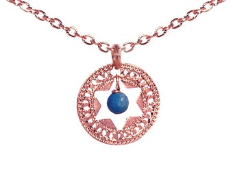 Jewish Star jewelry, Star of David, Rose Gold necklace, Turquoise necklace, Judaica jewelry, Unique Jewish jewelry