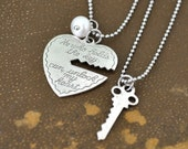 silver necklaces set, KEY to MY HEART, antiqued silver plated two necklaces set with steel ball chain