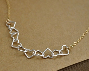 bridesmaid gift, Valentine Heart jewelry, PETITE HEARTS NECKLACE, sterling silver hearts, dainty gold filled necklace, open heart,
