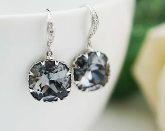 Bridal Earrings Bridesmaid Earrings Rodium plated over Sterling Silver Ear hooks with Crystal Silver Night Swarovski Crystal Square drops