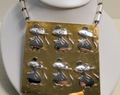 BIG Mice Mixed Metal Pendant Multiple Mouse Plaque Necklace OOAK Silver Gold Tone Artist Gallery Runway