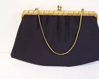 Vintage 1960s Ande Black clutch evening purse with gold toned chain strap