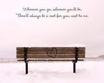 Valentines Day gift, personalized art print, park bench, carved initials, anniversary gift, wedding present, bedroom art, heart, engagement
