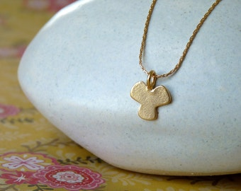 Delicate Gold Neckalce - Gold Clover Pendant - Gold Pendant Necklace | Handcrafted Jewelry