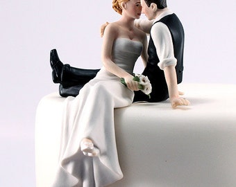 The Look of Love Bride and Groom Wedding Cake Topper- Romantic Couple gazing at each other