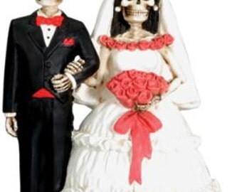 Halloween Love Never Dies Bride and Groom Day of the Dead Gothic Wedding Cake Toppers - Hand Painted Resin Romantic Skeleton Figurines-R2