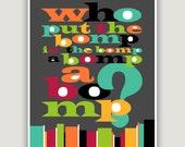 WHO PUT The BOMP, typographic print, mid century inspired, retro print, Doo Wop music, song quote
