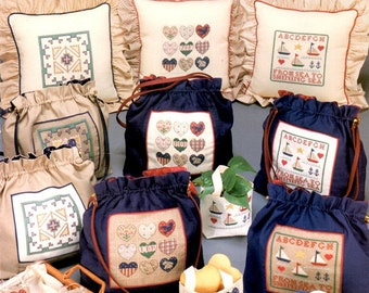 Pocketbooks With Hearts Patchwork Hearts Sailboats Geometric Blocks Triangles Totes Counted Cross Stitch Embroidery Craft Pattern Leaflet 34