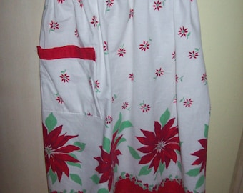 Vintage Christmas Red Poinsettia Half Apron