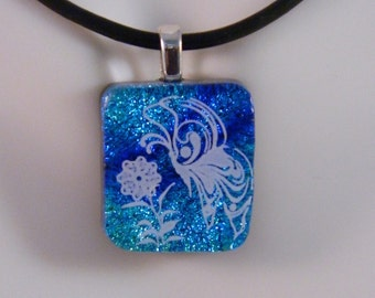 Dichroic Fused Glass Pendant, Butterfly and Flower on Blues