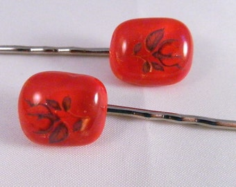 Fused Glass Hair Bobbies, Rich Dichroic on Red with Red Rose Buds, Set of 2