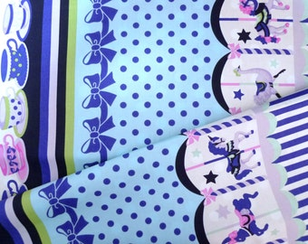 Cotton fabric, Japanese fabric, Lolita fabric, Carousel fabric, Teacups fabric, Blue fabric, Quilt fabric 1 yard FB131